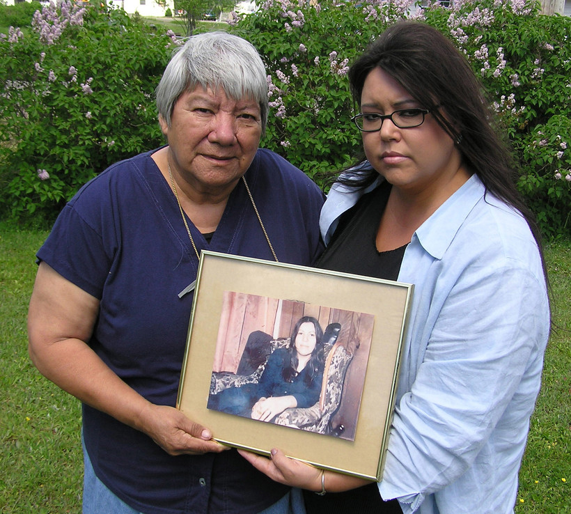 Rebecca Julian, left, Anna Mae Pictou Aquash's eldest sister, and Aquash's eldest daughter, Denise Maloney,