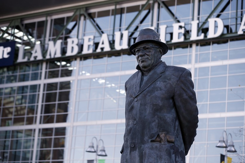 Statue of former Green Bay Packers head coach Vince Lombardi stands outside of Lambeau Field