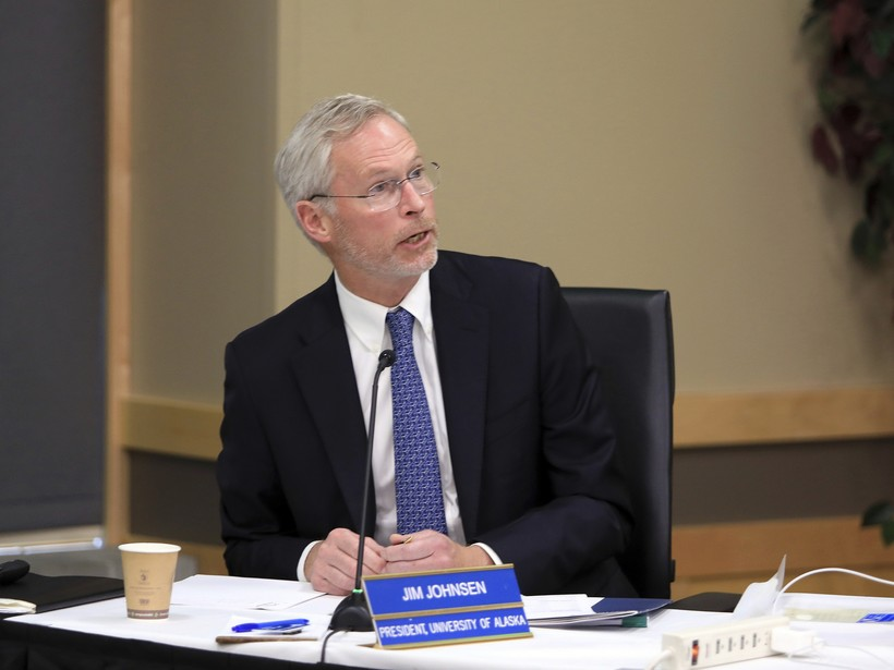 Jim Johnsen at a meeting on the University of Alaska System budget