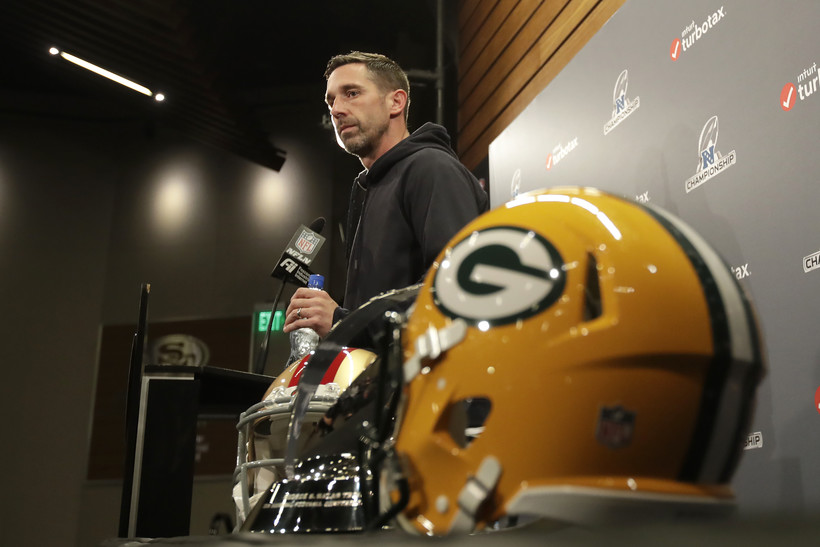 San Francisco 49ers head coach Kyle Shanahan speaks at a press conference