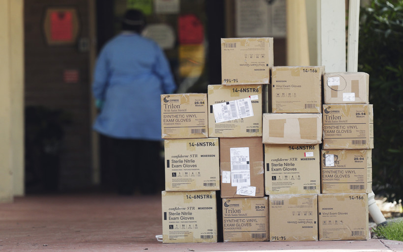 Boxes of personal protective equipment