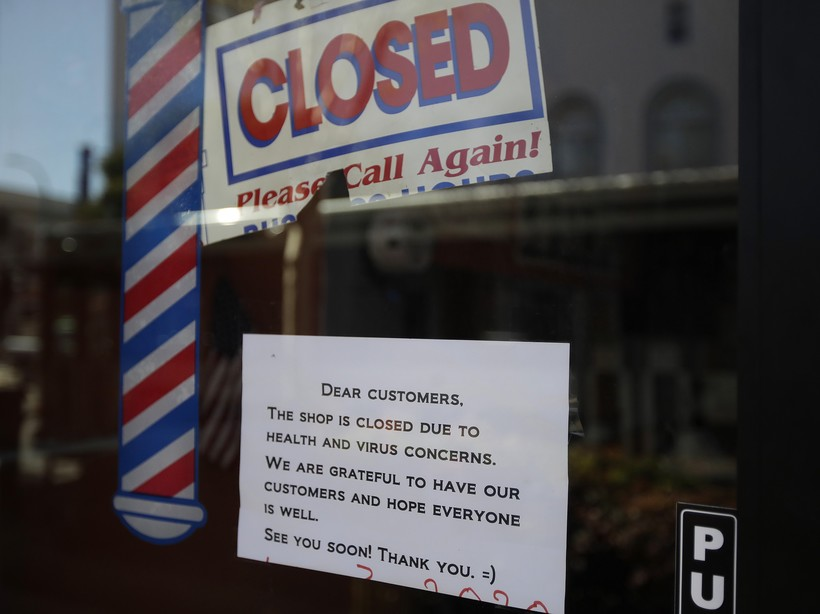 A barber shop remains closed amid the COVID-19 pandemic
