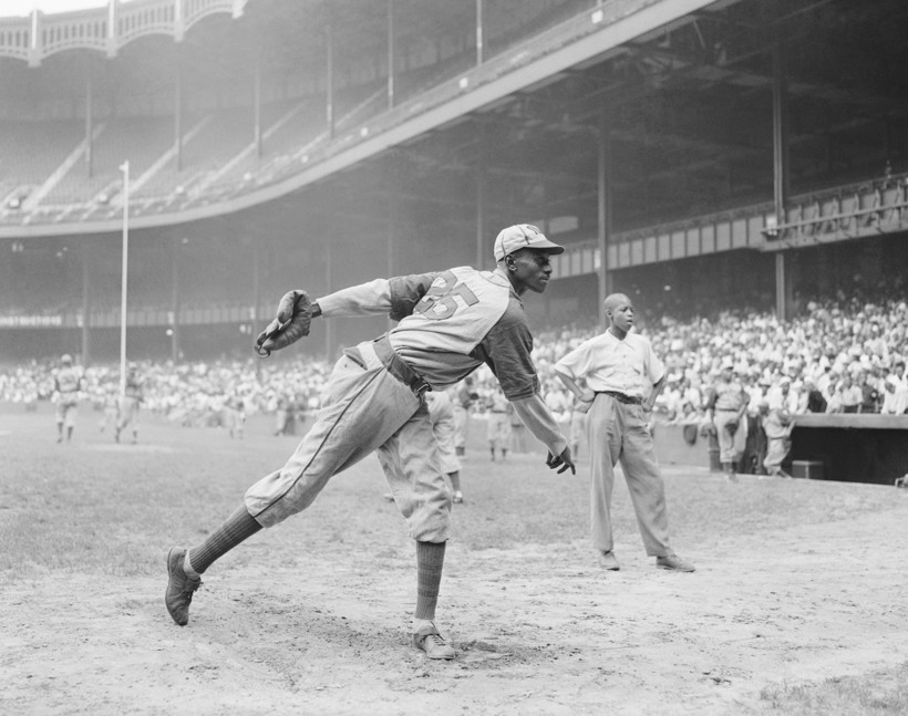Satchel Paige warms up