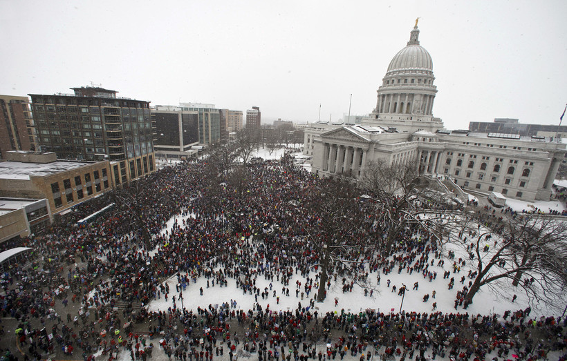 Act 10 protesters on the Capitol Square