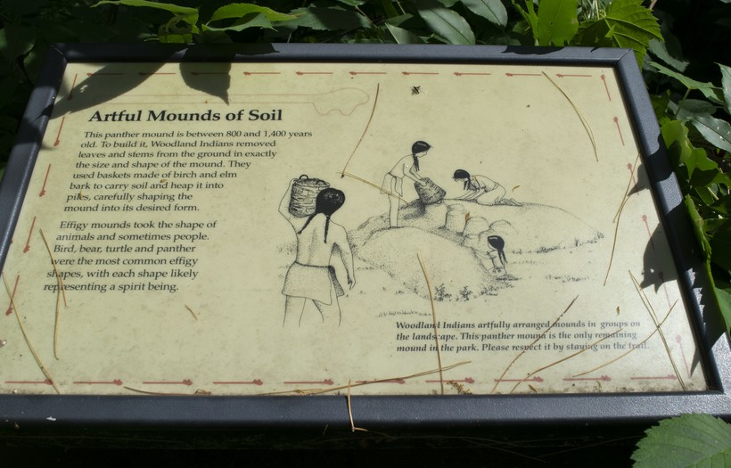 This sign at Lake Wissota State Park explains to hikers along the Lake Trail that this is the site of a sacred effigy mound