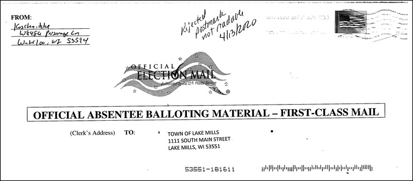 A rejected absentee ballot from the April 2020 election.