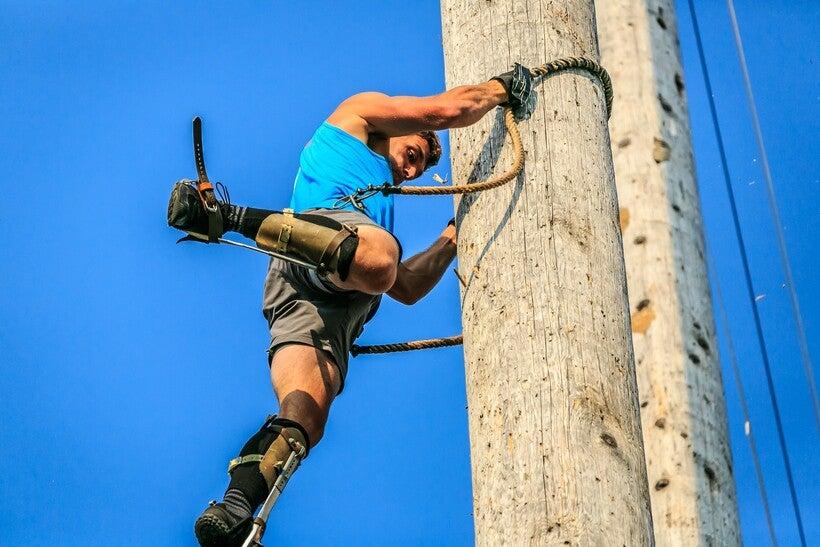Pole-climbing at Lumberjack World Championships in Hayward