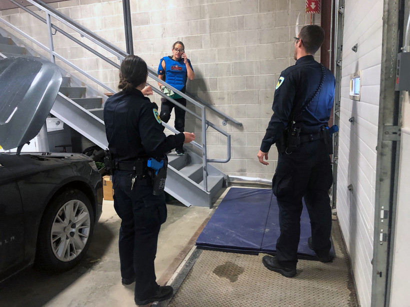 Madison Police Department officers work on crisis management training