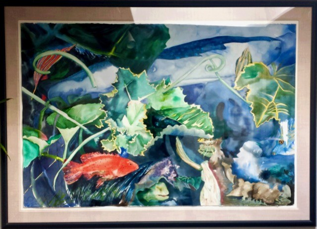 """Milwaukee artist Diane Balsley's painting, """"Aquarium Abstract II,"""" is available to borrow from Artisan Forge Studios in Eau Claire"""