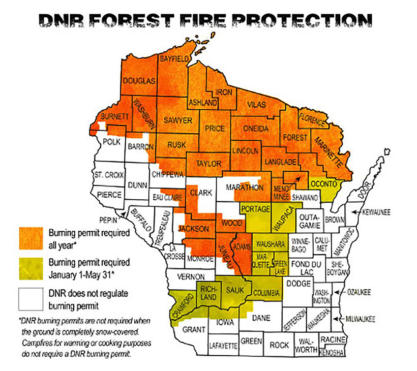 This screenshot from the DNR shows locations in Wisconsin where burning permits are required