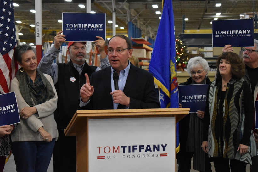 Tom Tiffany speaks at a campaign event