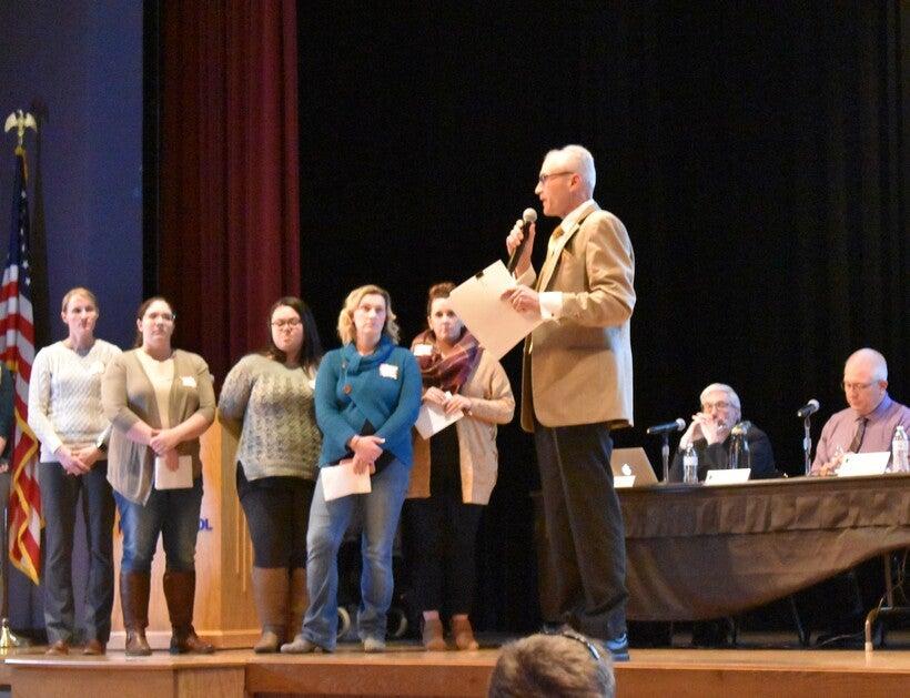 Peter Fromm Wade speaks at Merrill School Board