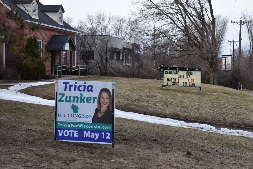 Zunker campaign sign is displayed outside the headquarters of the St. Croix County Democratic Party in Baldwin