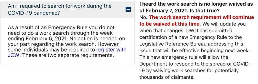Screenshots from the stateDepartment of Workforce Development's website