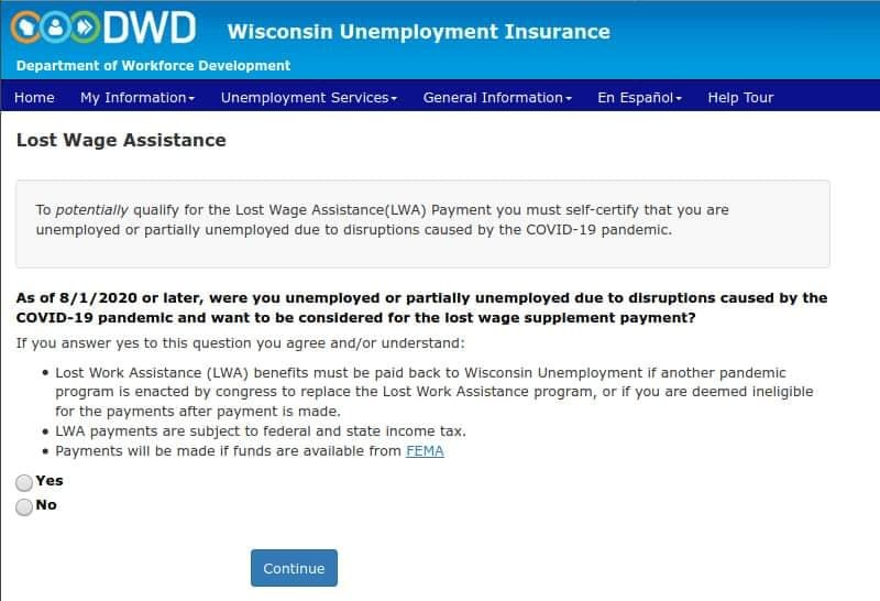 Screenshot of Lost Wage Assistance eligibility question from DWD