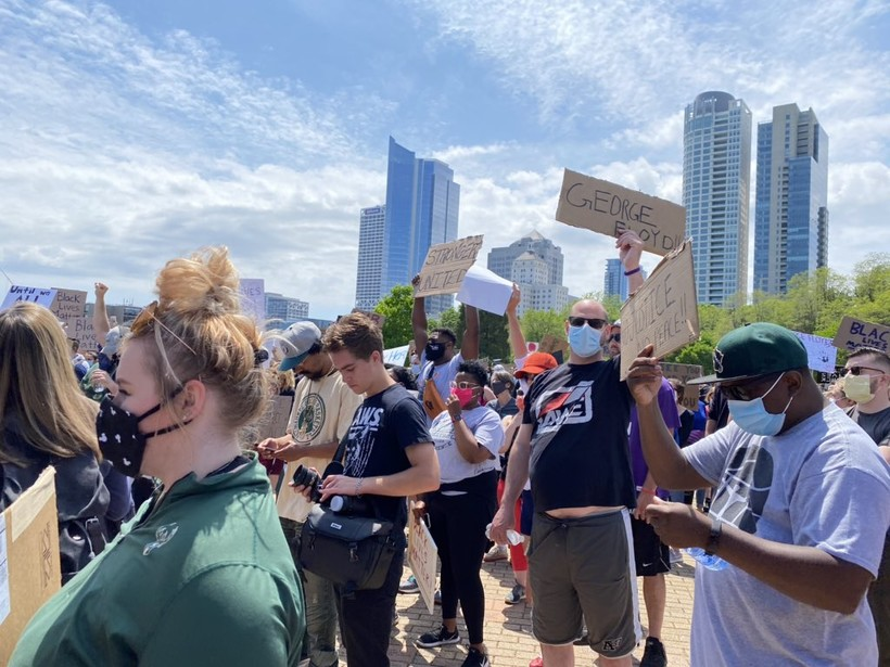 Protesters gathered at Veterans Park in Milwaukee on Sunday afternoon.
