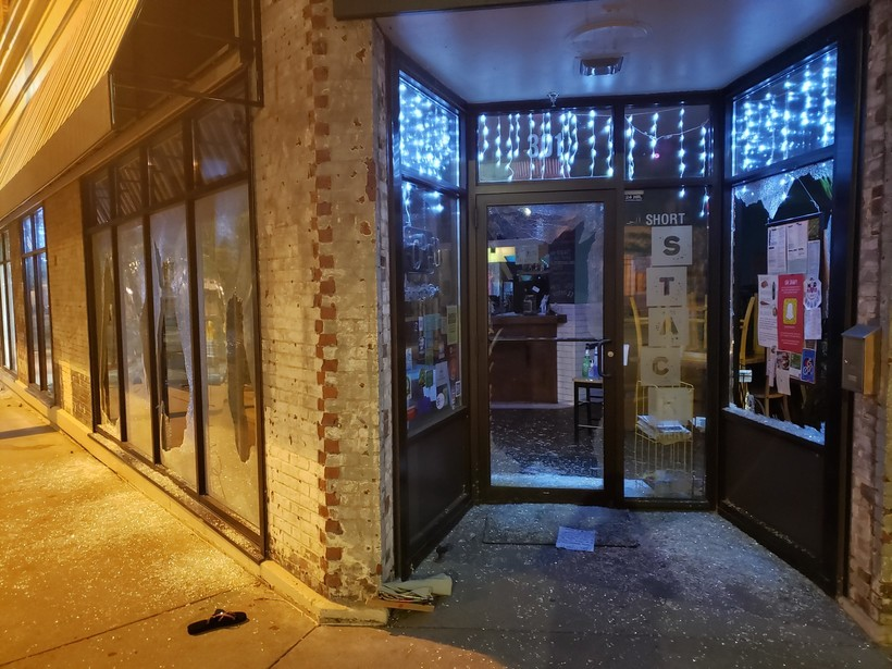 Protesters broke some windows of businesses on State Street in Madison during the rally on Monday night, June 1, 2020, around the Capitol Square.
