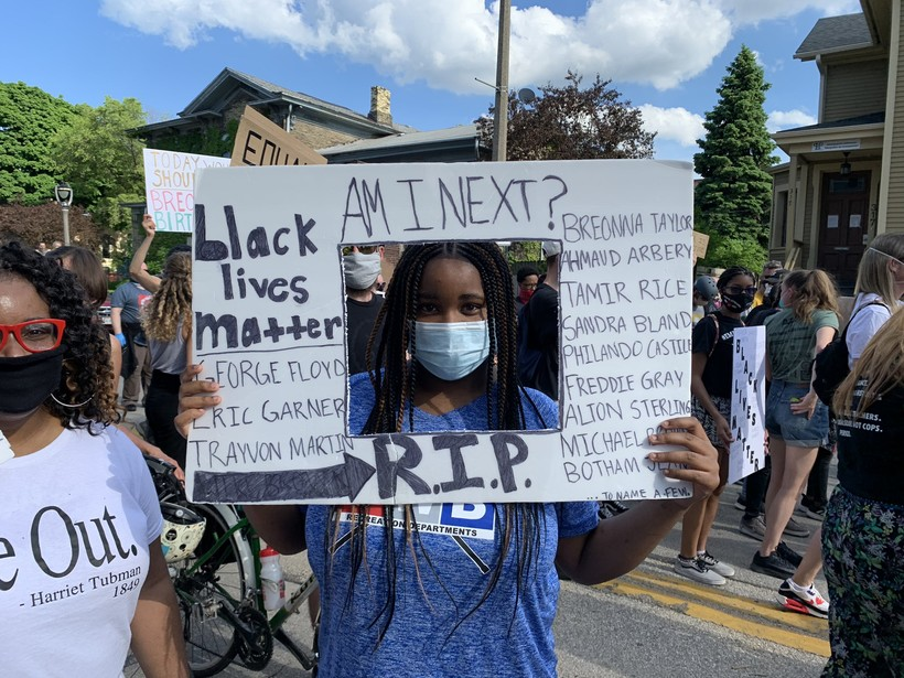 Lauryn, 14, and her mother were marching with the group at 4th and National in Milwaukee on Friday, June 5, 2020.
