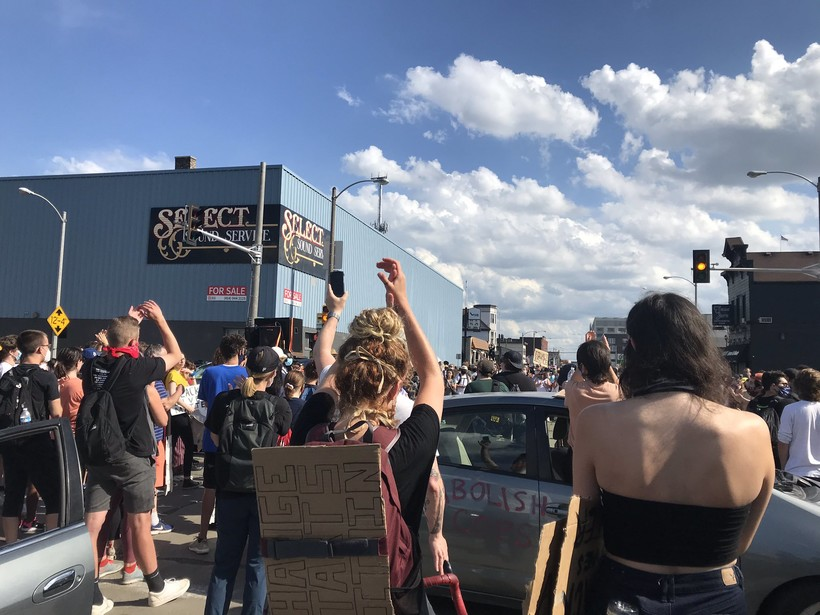 Protesters at National and 1st in Milwaukee on Friday afternoon, June 5, 2020.