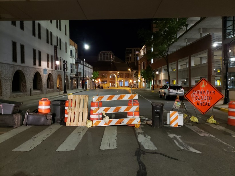 An improvised barrier on the street in Madison's downtown.