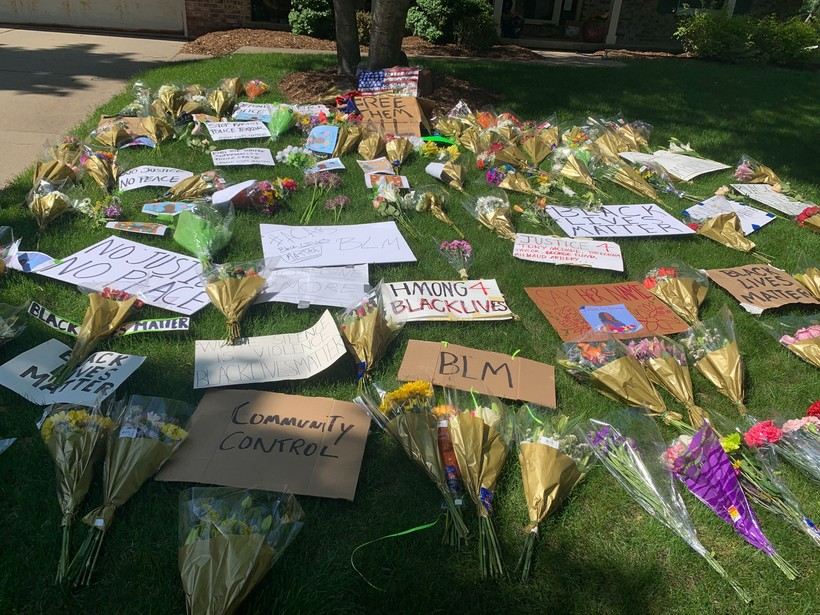Flowers, signs and pictures placed outside Dane County Sheriff Dave Mahoney's home