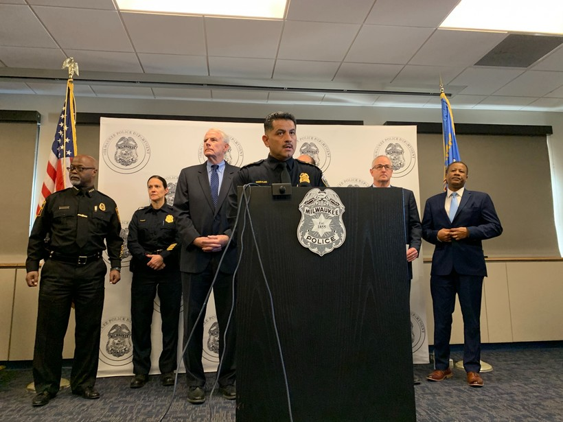 Milwaukee Police Chief Alfonso Morales speaks at a press conference