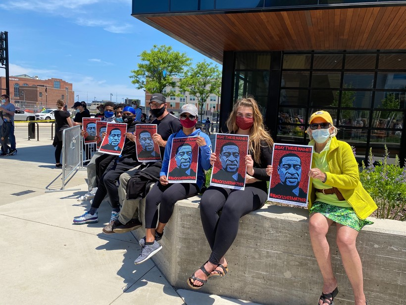 Protesters wait before Milwaukee Bucks protest at the Fiserv Forum in Milwaukee on Sunday afternoon, June 7, 2020