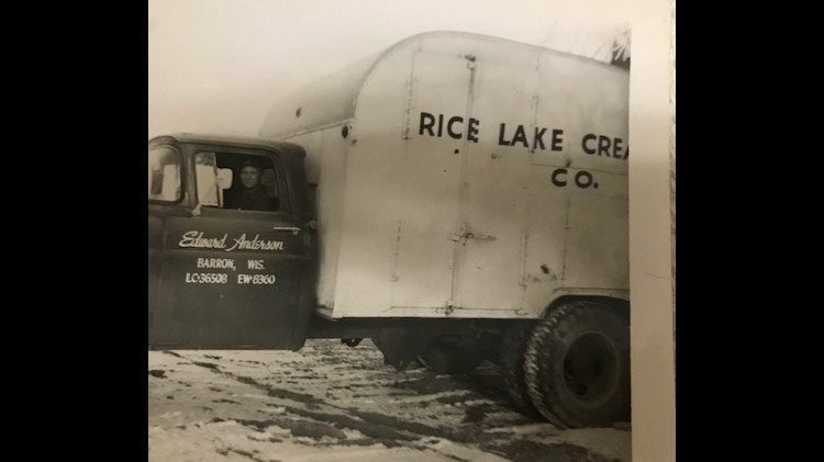 After the war, Edward Anderson drove a milk truck in addition to running his own dairy farm.