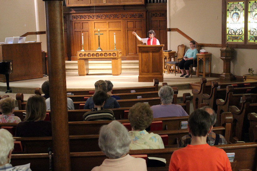 Pastor Marianne Cotter delivers a sermon