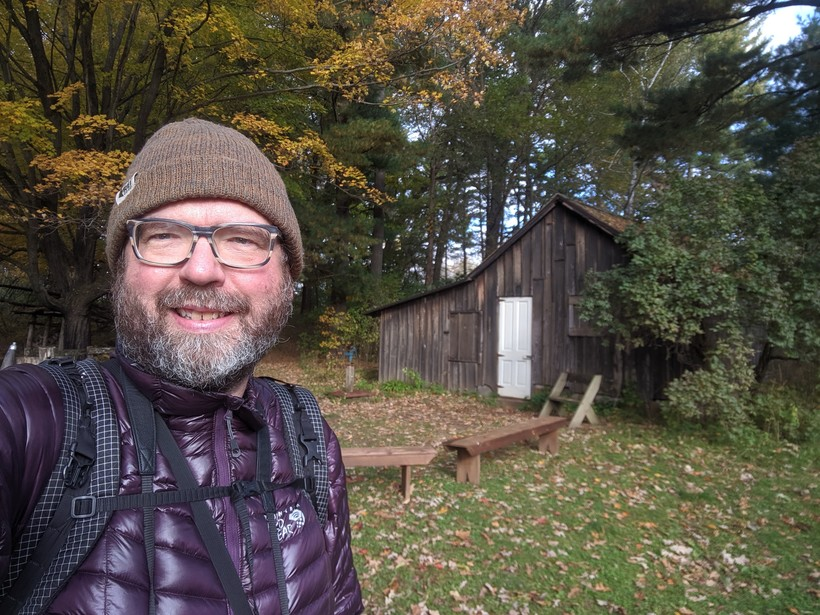 Cameron Gillie takes a selfie at Aldo Leopold's Shack, located between Baraboo and Portage