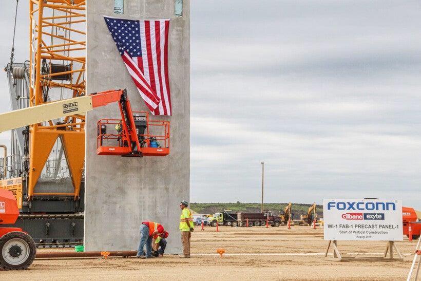 Vertical construction began on Foxconn's Gen 6 Fab building