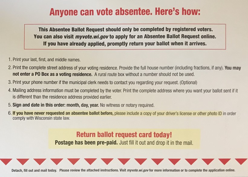 Instructions in mailer for voting absentee