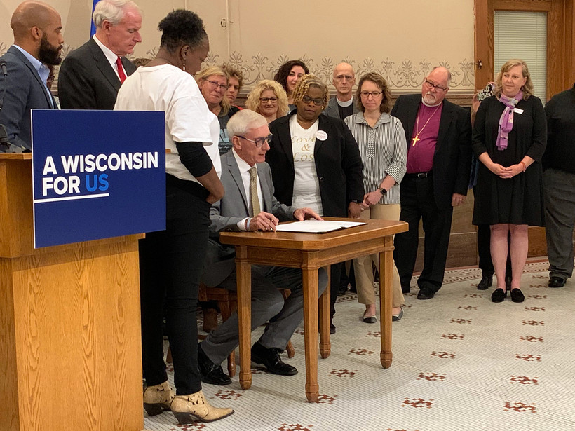 Gov. Tony Evers at a press conference