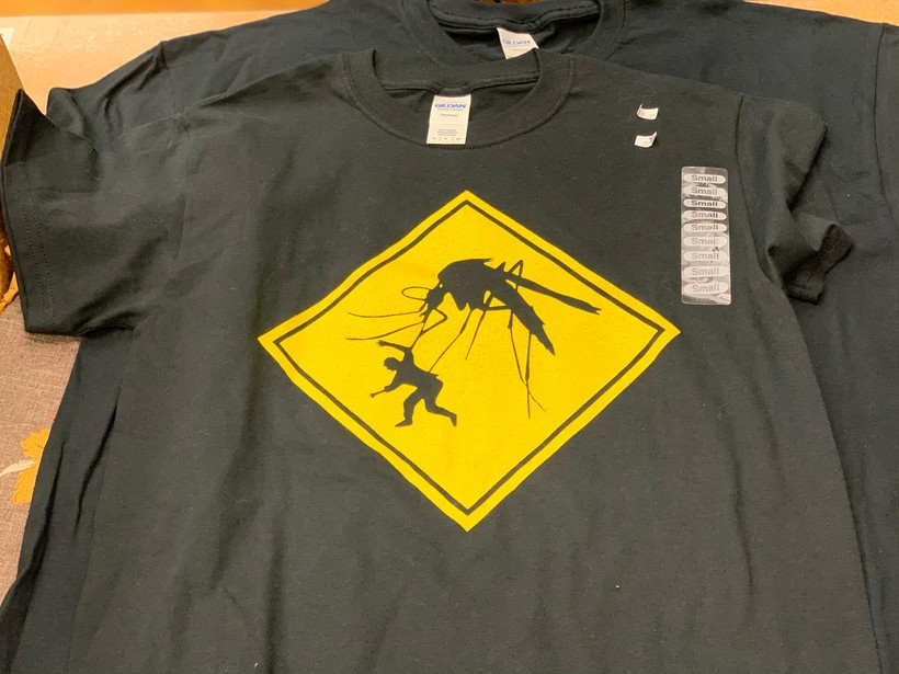 A t-shirt showing a giant mosquito