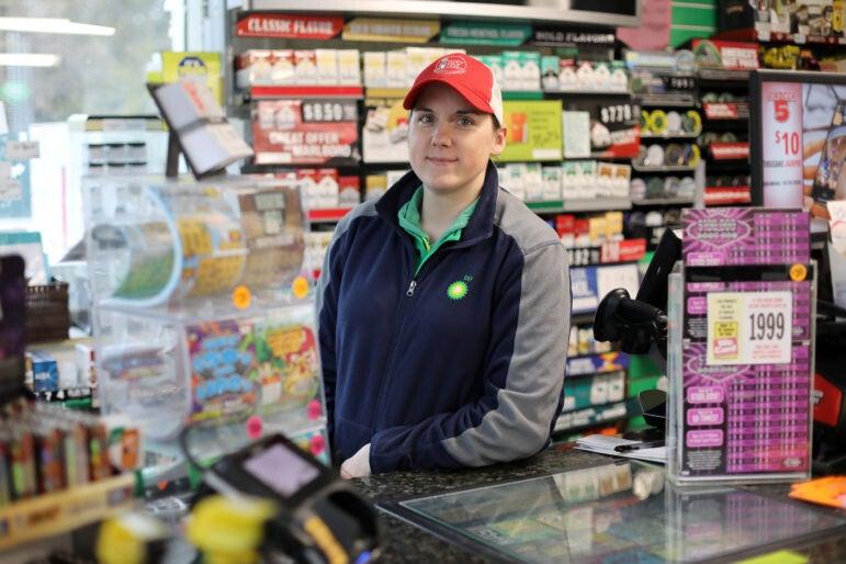 Kari Baumann runs the Baileys 57 BP gas station in Baileys Harbor