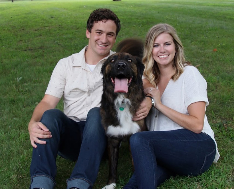 Kelly Kobriger is pictured on the right with husband, Jared Kobriger, and rescue dog Finley