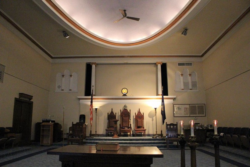 The lodge room in the Rhinelander Masonic Temple