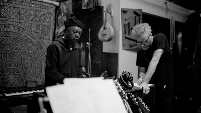 "Booker T. Jones (left) and Matt Berninger in the studio during the ""Serpentine Prison"" sessions (photo by Chris Sgroi)"