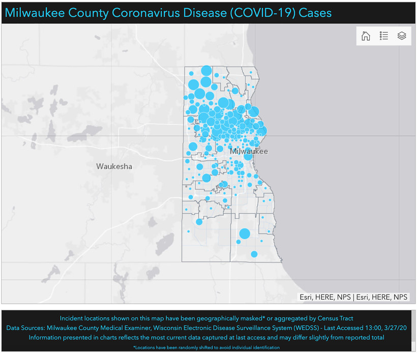 Milwaukee County COVID-19 cases map