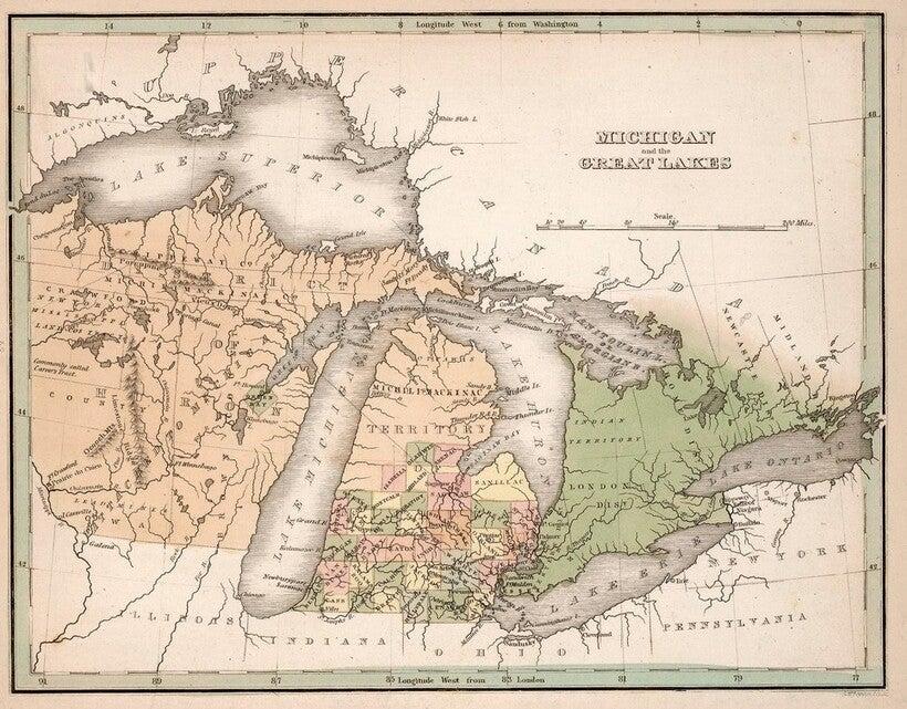 1838 map of Michigan Territory