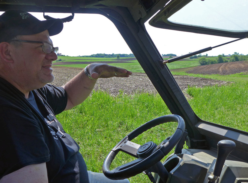 LaVon Felton shows where heplanted48 acres of industrial hemp