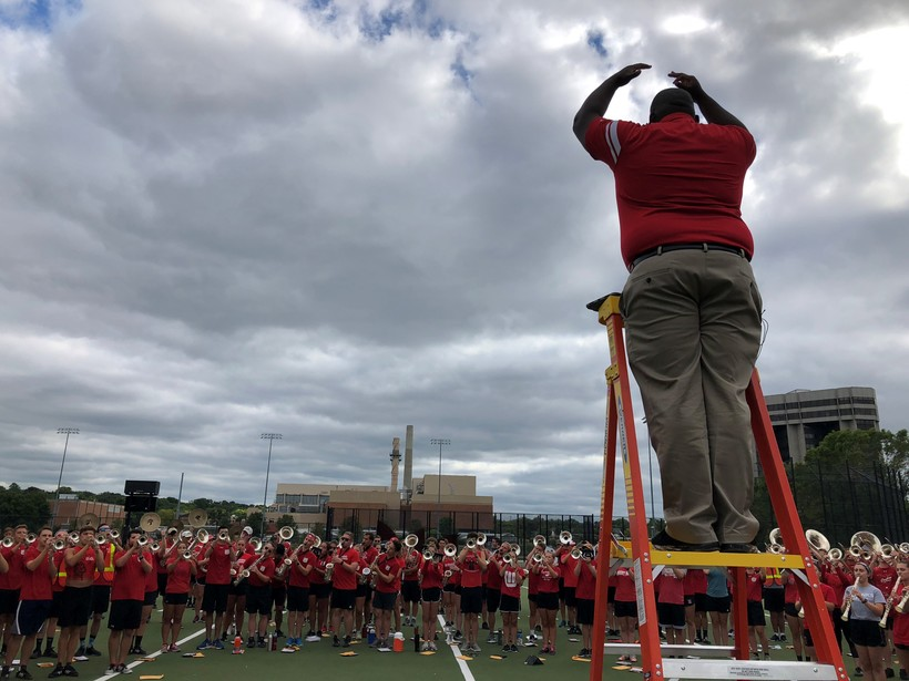 UW-Madison's new marching band director Corey Pompey at rehearsal ahead of the football team's first home game of the 2019 season against Central Michigan.