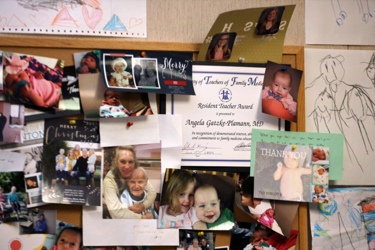 Personal photos in Dr. Angela Gatzke-Plamann's office