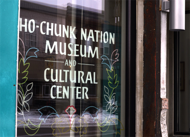 A decal invites patrons into the Ho-Chunk Nation Museum and Cultural Center