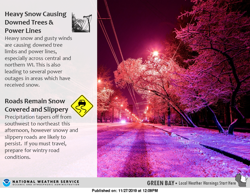 National Weather Service graphic on wet snow dangers