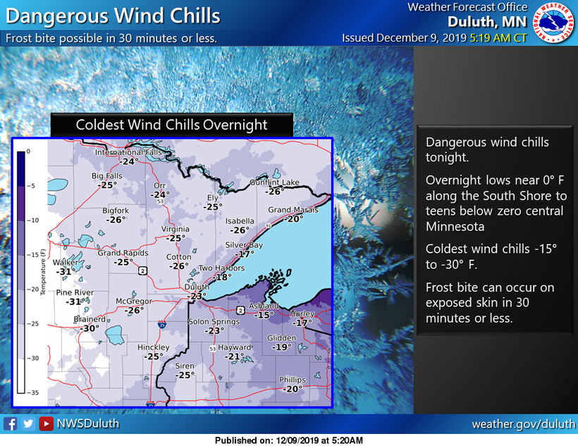 Wind chills for Dec. 9