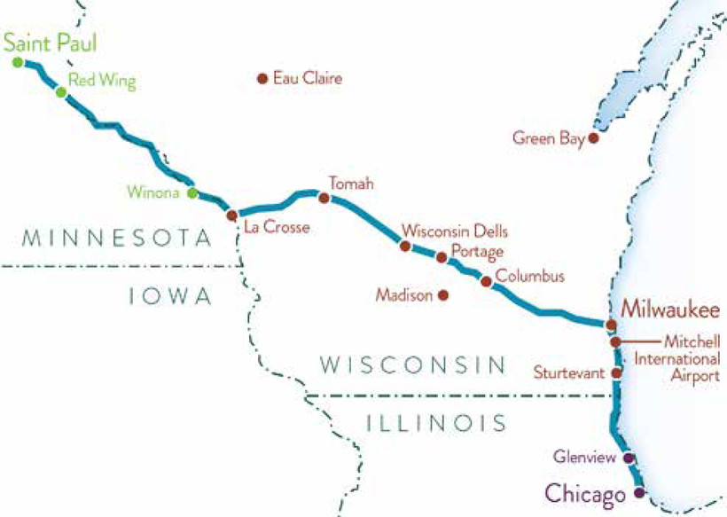 A map of the train route connecting Chicago and the Twin Cities