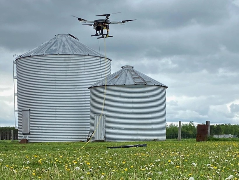 "Wisconsin Telelift drones are ""tethered"" by a wire to a power source on the ground."