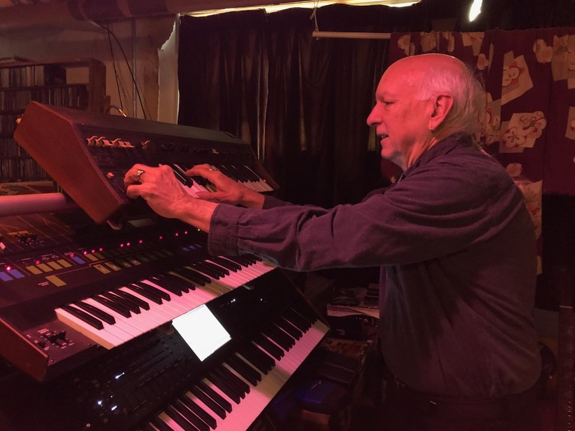 Tom Naunas plays Don Voegeli's former synthesizers, an ARP Quadra and an ARP Soloist, in his home studio.