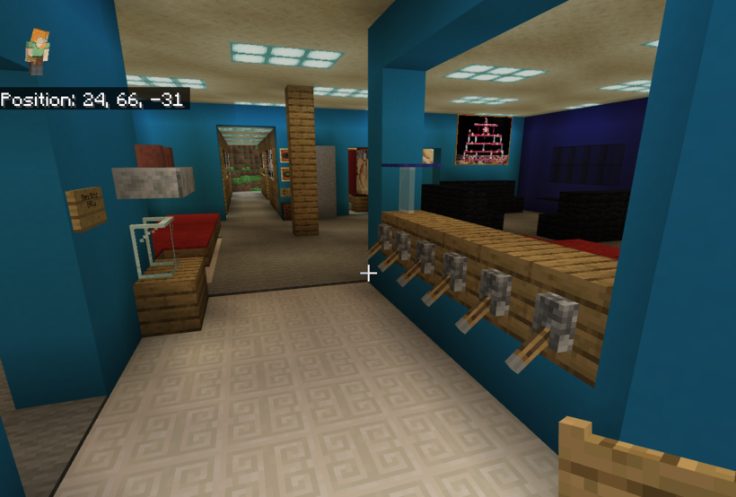 An interior view of one of Youth Go's Minecraft buildings